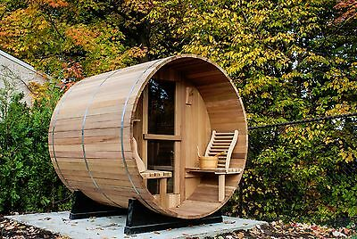 Barrel Sauna,Red Cedar,Front Porch,Electric Heater, 6 Feet, Fits 2+2 (BRT-66P-U) Cedar Barrel Sauna