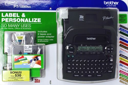 Brother P-Touch PT-1890SC Home & Office Labeler AC Adapter Tapes Value Pack