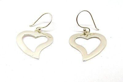 Flat Open Heart Earring - Handmade 925 Sterling Silver Open Flat Heart Drop Earrings 18mm Wide