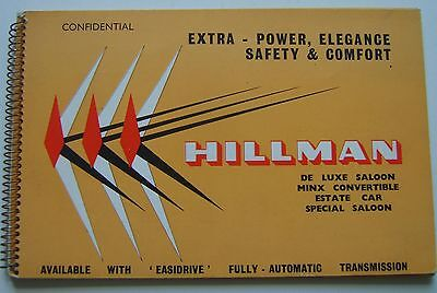 Hillman Minx Original UK confidential Salesmans Book  Pub No. 675/H  circa 1959