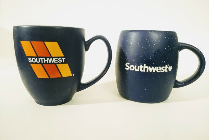 Southwest Airlines Coffee Mugs Lot of 2 Ceramic Logo LUV