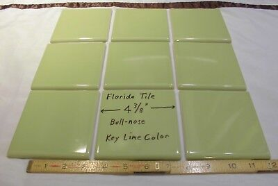 "9 pcs. Bullnose Ceramic Tiles *Key Lime Green* 4-3/8""  Florida Tile Co.  Glossy"