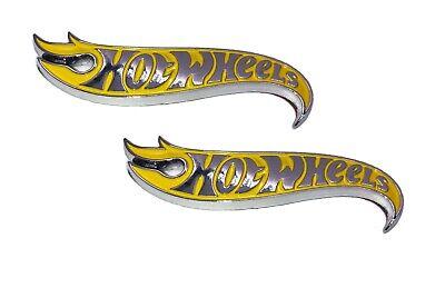 Hot Wheels Yellow Chrome Rear End Front Hood Side Fender Emblem Logo Badge Pair