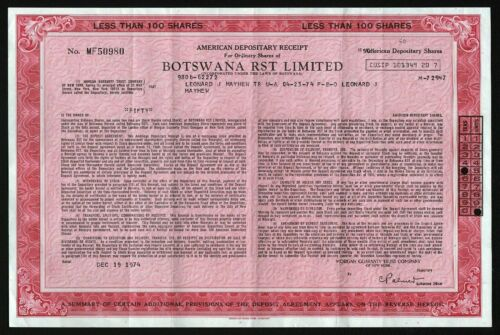 1974 Botswana: Botswana RST Limited - American Depository Receipt, 50 Shares