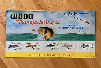 "Vintage WOOD Manufacturing Co. 21"" Embossed Tin Fishing Lures Advertising Sign"