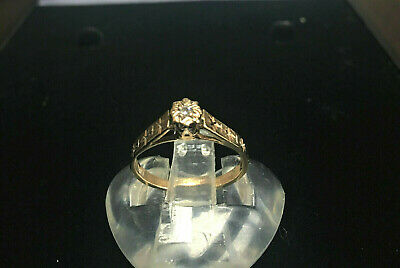 Vintage 1975 9ct Gold Diamond Solitaire Ring UK Size J Fully Hallmarked