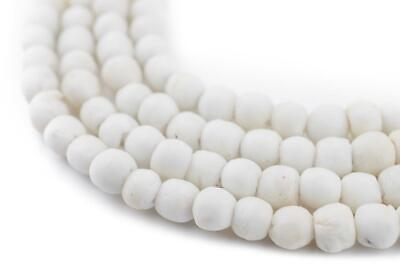 - White Opaque Recycled Glass Beads 7mm Ghana African Sea Glass Round Large Hole