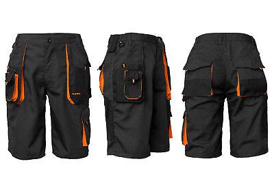 Kurze-Arbeitshose Shorts Cargo-Schutzhose Sommer Schwarz-Orange (KR-SP-CLASSIC)