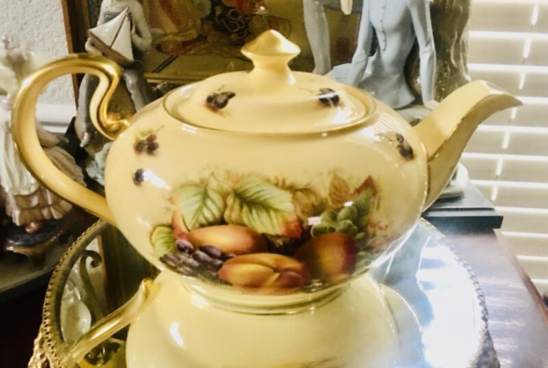 Aynsley Orchard Gold Teapot Fine Bone China Made in England Rare