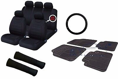 Full Black Universal Car Seat Covers Set + Matching Interior Accessories