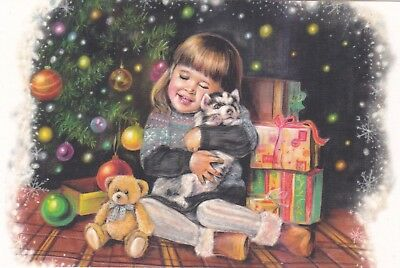 The Best Gift little girl with husky puppy Christmas Russian modern postcard ()