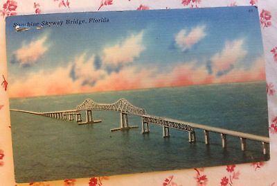 Vintage Linen Postcard of the Sunshine Skyway Bridge, Florida ~ Tampa Bay
