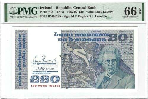 IRELAND 20 Pounds 1991 Republic, P-73c, PMG 66 EPQ Gem UNC, Scarce Type Popular