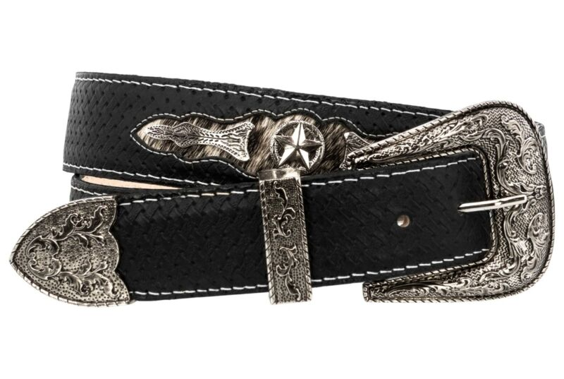 Mens Western Cowboy Belt Ranger Concho Genuine Leather Rodeo Silver Buckle Black