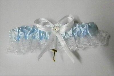 Wedding Party Ceremony Fireman Firefighter Satin & Lace Toss Garter BLUE