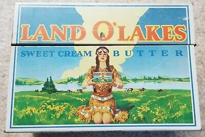Vintage Land O'Lakes Butter Recipe Box Tin - Retired Native American Mascot Mia
