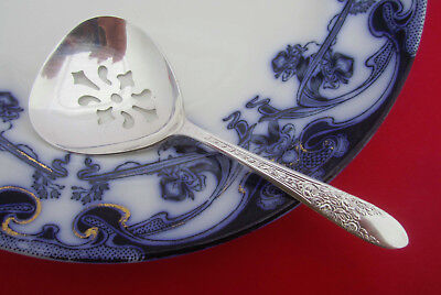 1937 Vintage ROSE AND LEAF Pierced Bon Bon Nut Serving Spoon National Silver Co