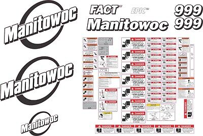 Manitowoc 999 Crawler Crane Aftermarket Decal Kit - Very High Quality