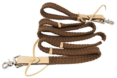 Horse Roping Western Barrel Reins Braided Nylon Cotton Tack Black Pink 607113