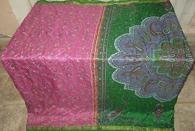 Pure silk Antique Vintage Sari EXOTIC 4Y S19 352 Magenta Green UK #ABGOK