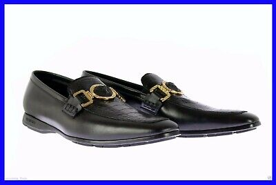 NEW VERSACE BLACK OSTRICH LEATHER CITY LOAFER SHOES 40 - 7