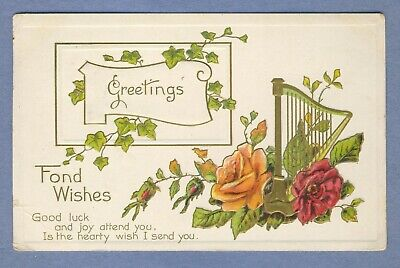 Vtg PC: Fond Wishes Good Luck Poem Roses Ivy Gold Harp (Good Luck Best Wishes)