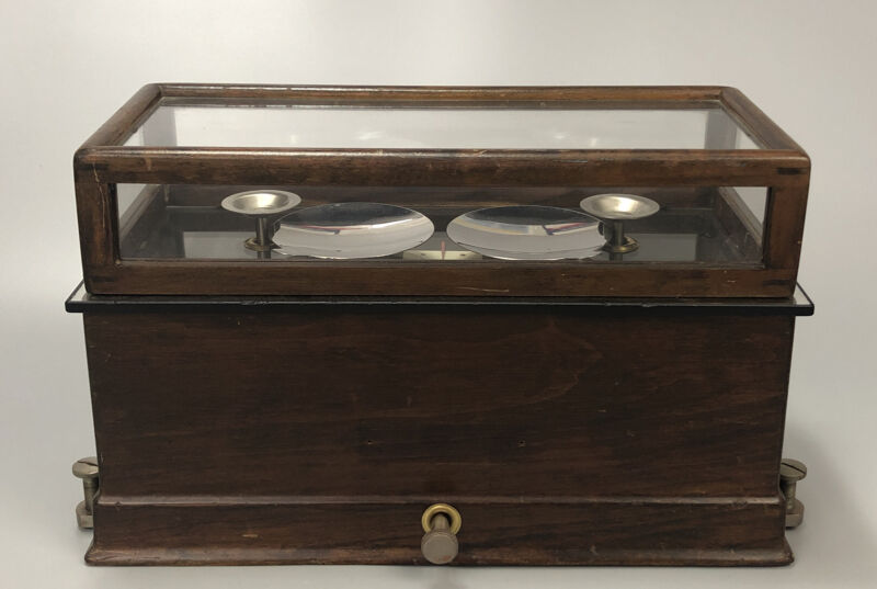 Vintage Glass/Wood Pharmacy Drug Store Apothecary Scale The Torsion Balance AA
