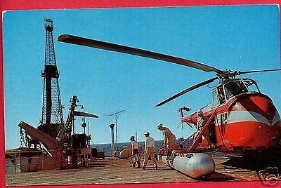 Helicopter Taking Crew To Work Gulf Of Mexico Oil Drilling Rig  Postcard