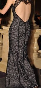 Lacey black open back gown