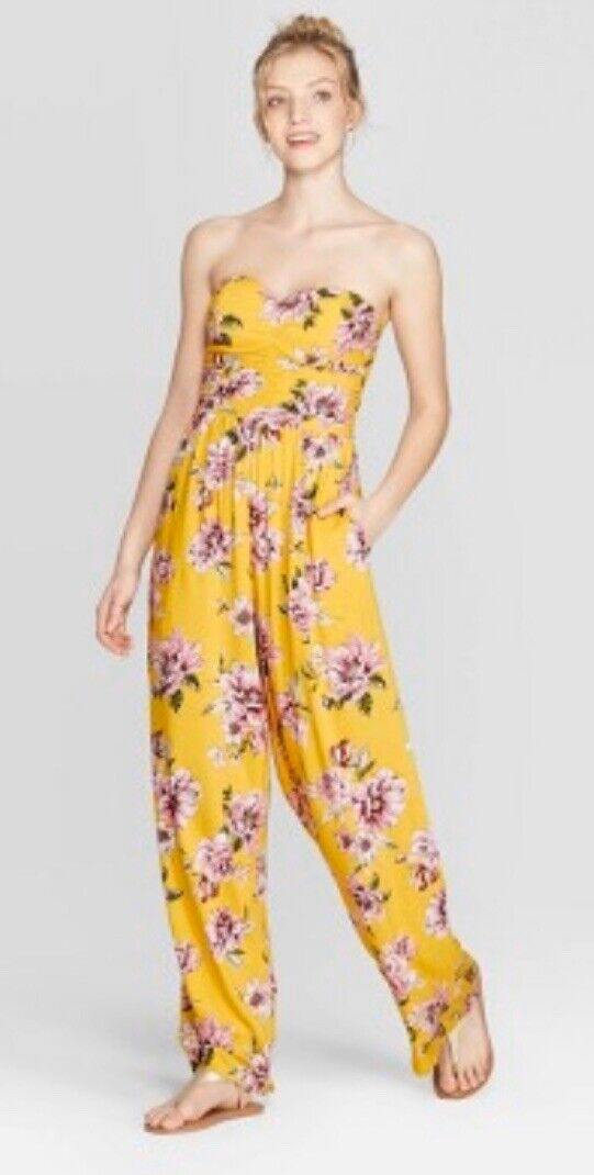Women's Floral Print Strapless Quilted Top Jumpsuit ~ Xhilar