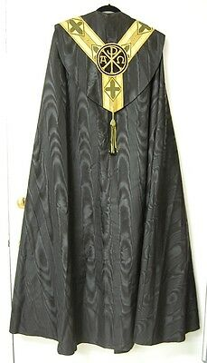 BLACK AND GOLD SILKY COPE - 623 -  (VESTMENT / CHASUBLE) GUILD CHURCH SUPPLY