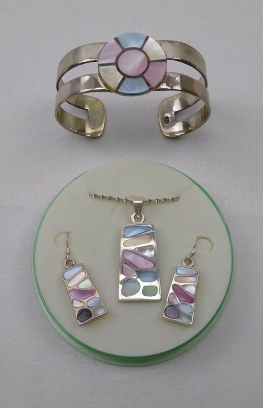 VTG Set Sterling Silver 925 Inlay Shell Necklace Earrings Bracelet Jewelry Italy