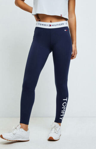 Womens Tommy Hilfiger Leggings Navy Blue High Rise Cotton Leggings NEW
