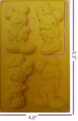 Mickey Minnie Mouse Silicone Baking Chocolate Cookie Candy Mold 4 Cavity