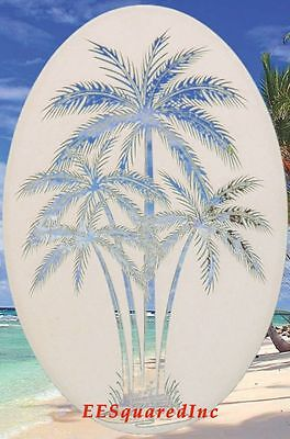 Palm Trees Static Cling Window Decal OVAL 10x16 Tropical Decor for Glass Doors