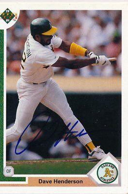 (1991 Upper Deck Dave Henderson IP Autograph Card #108 Athletics)
