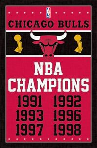 Chicago Bulls NBA Championship Years Poster Art Print 22x34 T2089