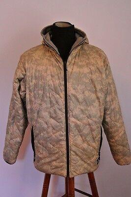 Wild Things Reverse Gray Camo Puffer Hooded Jacket Coat Nylon Shell Fill XL