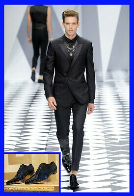 S/S 2011 look # 36 NEW VERSACE BLACK PATENT LEATHER LOAFER with SUEDE 44 - 11