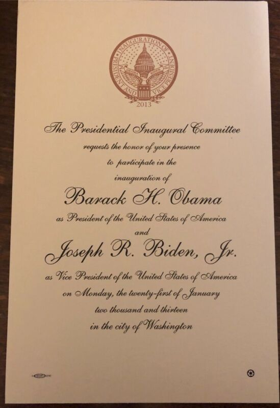 2013 Inauguration engraved invitation Barack Obama & Biden