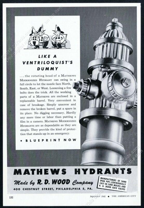 1945 Mathews fire hydrant photo H D Wood vintage print ad 1