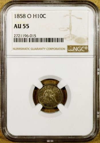 1858-O NGC AU55 Seated Half Dime