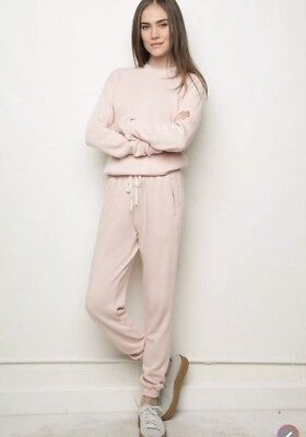 (New! Brandy melville blush pink pull up Rosa Thermal sweatpants sz S/M With Flaw)