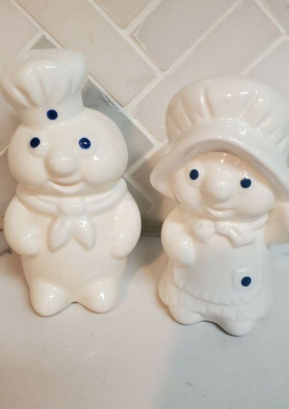 1988 Pillsbury Doughboy Poppin & Poppie Fresh Ceramic Salt & Pepper Shakers Set