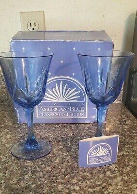 Set of 2 Vintage Avon Fostoria American Light Blue Classic Water Wine Goblets American Classic Wine Set