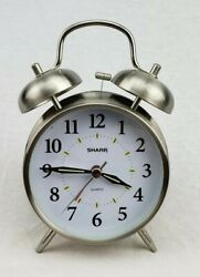 Sharp Stainless Steel Quartz Twin Bell Alarm Clock