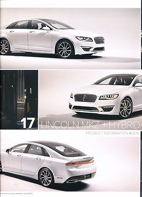Brochure Catalog Guide - 2017 Lincoln MKZ and Hybrid 20-page BIG Car Sales Brochure Catalog Guide