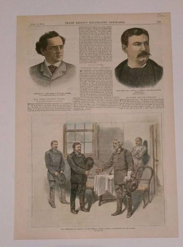 vintage print  Colorized   Surrender of General Lee to General Grant