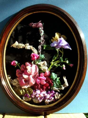 +Ribbon+%26+Stump+Embroidery+15%22+Tall+Ellipse+Wood+Frame%2C+Bouquet+of+Flowers+OOAK