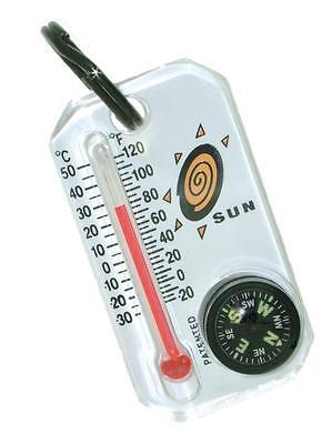 Sun Therm-o-compass Thermometer Compass Zipper-pull Temperature Hunting 802